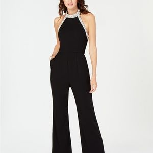 Adrianna Papell Beaded-Halter Jumpsuit Black